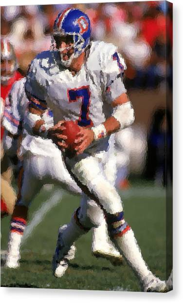 John Elway Canvas Print - Denver Broncos by Joe Hamilton