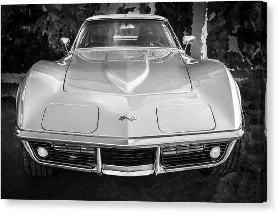 1969 Chevrolet Corvette 427 Bw Canvas Print