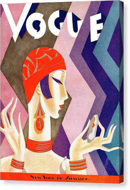 A Vintage Vogue Magazine Cover Of A Woman Canvas Print