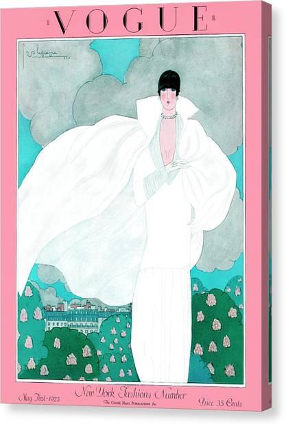 A Vintage Vogue Magazine Cover Of A Woman Canvas Print