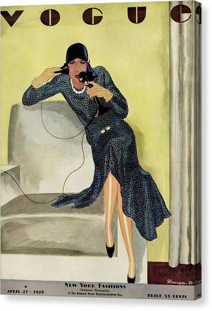 A Vintage Vogue Magazine Cover Of A Woman Canvas Print by Pierre Mourgue