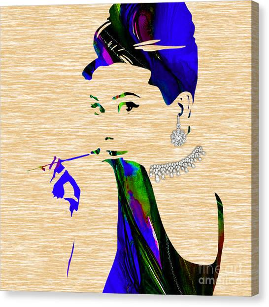 Hepburn Canvas Print - Audrey Hepburn Diamond Collection by Marvin Blaine
