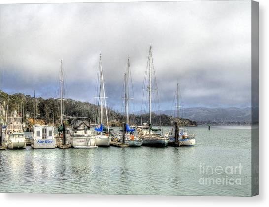 7 Boats In A Row Canvas Print