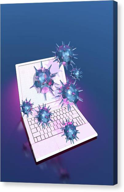Computer Virus Canvas Print by Victor Habbick Visions/science Photo Library