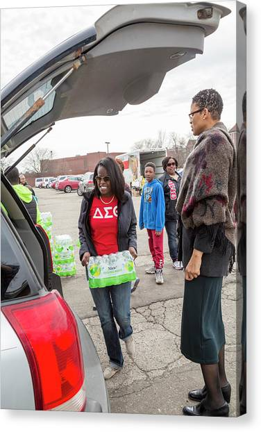 Delta Sigma Theta Canvas Print - Flint Bottled Drinking Water Distribution by Jim West