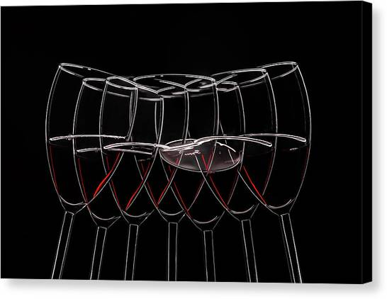 Red Wine Canvas Print - 7 Glases by Heinz Trebuth