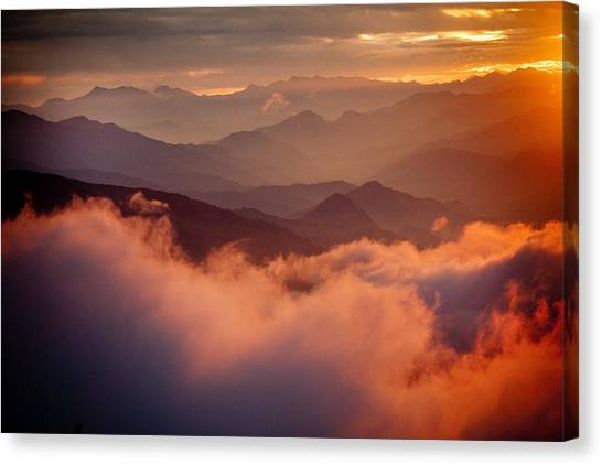 Golden Sunset Himalayas Mountain Nepal Canvas Print