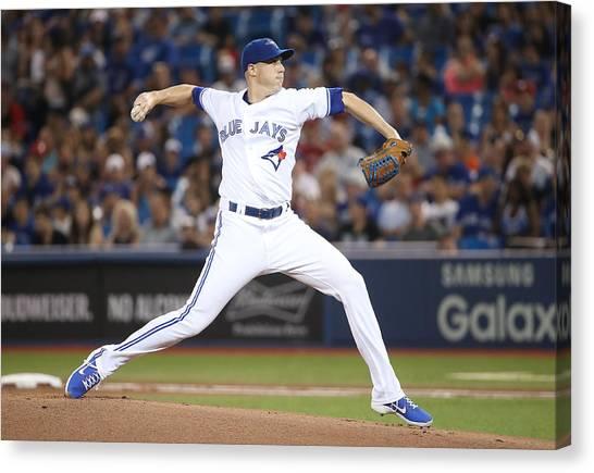 Houston Astros V Toronto Blue Jays Canvas Print by Tom Szczerbowski