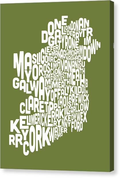 Ireland Canvas Print - Ireland Eire County Text Map by Michael Tompsett