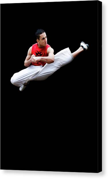 Kung Fu Canvas Print - Martial Arts Kick by Gustoimages/science Photo Library