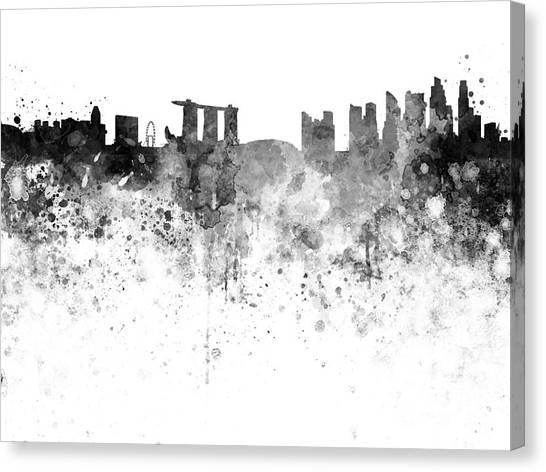 Singapore Skyline Canvas Print - Singapore Skyline In Watercolour On White Background by Pablo Romero