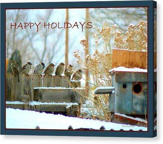 7 Sparrows Sitting On A Fence Greeting Card Canvas Print