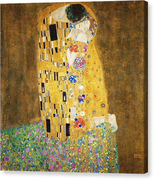 Art Nouveau Canvas Print - The Kiss by Masterpieces Of Art Gallery