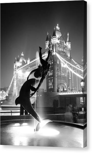 Tower Bridge And Statue Canvas Print