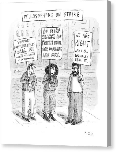 Philosopher Canvas Print - New Yorker December 3rd, 2007 by Roz Chast