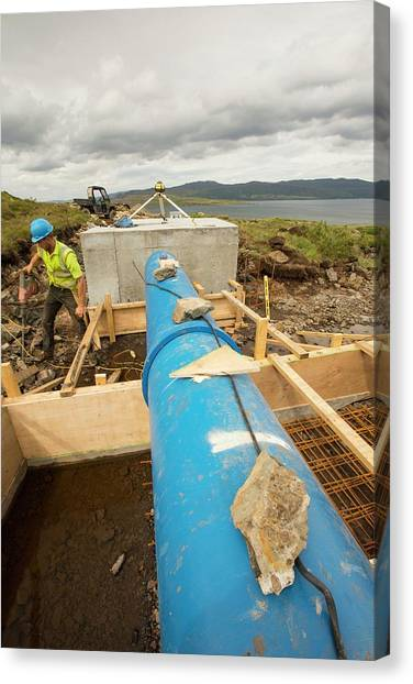 Hard Hat Canvas Print - 700 Kw Hydro Power Plant by Ashley Cooper