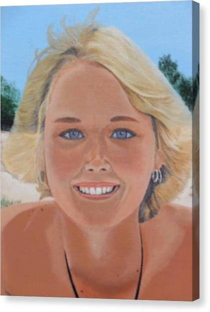 70's Girl On The Beach Canvas Print by Scott Kingery