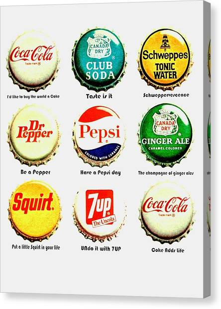 Drinks Canvas Print - 70s Soft Drink Slogans by Benjamin Yeager