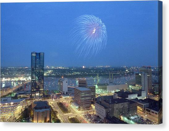 7403 Toledo Twilight Ohio Fireworks Over Maumee River Canvas Print