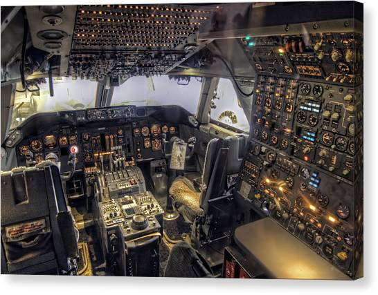 747 Cockpit Canvas Print