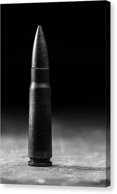 Ak-47 Canvas Print - 7.62 X 39mm Black And White by Andrew Pacheco