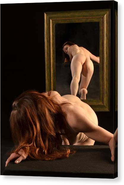 7823 Nude Viewing Herself In Mirror Canvas Print