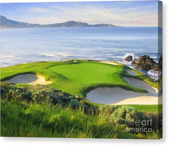 Golf Canvas Print - 7th Hole At Pebble Beach by Tim Gilliland