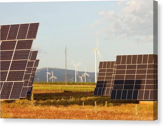 Solar Farms Canvas Print - A Photo Voltaic Solar Power Station by Ashley Cooper
