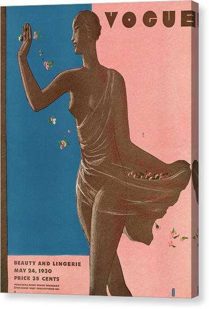 A Vintage Vogue Magazine Cover Of A Woman Canvas Print by Eduardo Garcia Benito