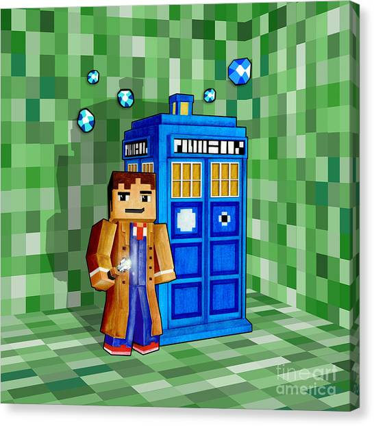 Gameboy Canvas Print - 8 Bit Time And Space Traveller by Three Second