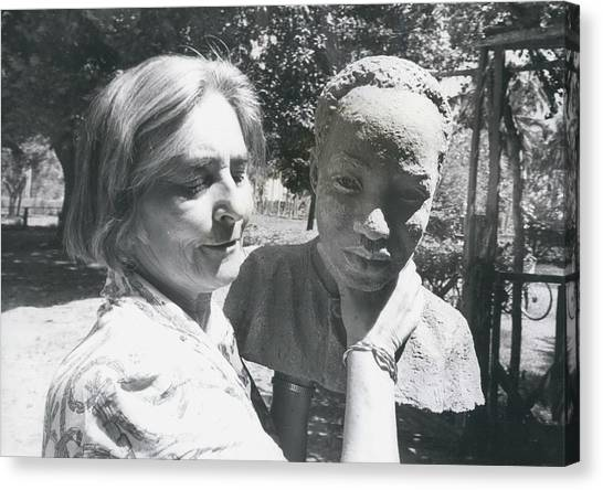 British-born Sculptress Completes Bust Of President Nyerere Canvas Print by Retro Images Archive