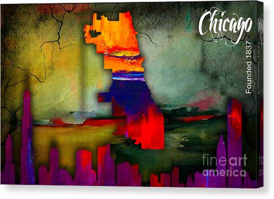 Illinois Map Canvas Print - Chicago Map And Skyline Watercolor by Marvin Blaine