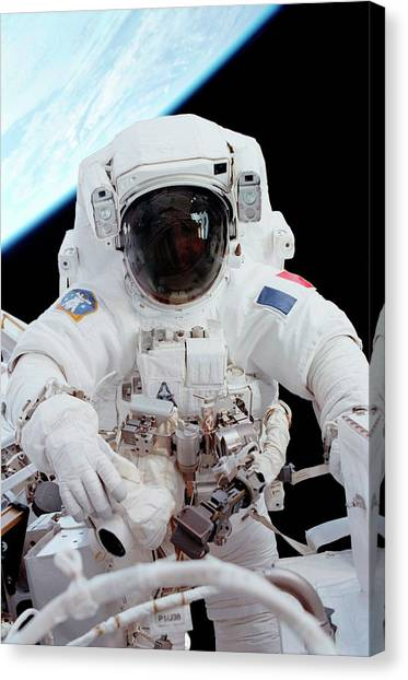 Emus Canvas Print - Iss Space Walk by Nasa/science Photo Library