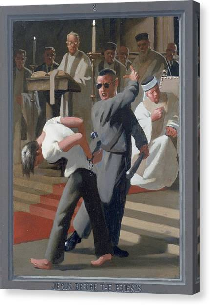8. Jesus Before The Priests / From The Passion Of Christ - A Gay Vision Canvas Print by Douglas Blanchard
