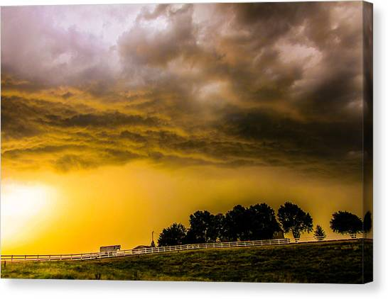 Canvas Print featuring the photograph Late Afternoon Nebraska Thunderstorms by NebraskaSC