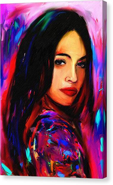 Megan Fox Canvas Print by Bogdan Floridana Oana