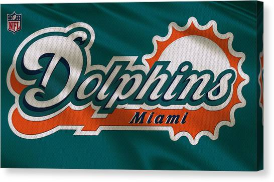 Miami Dolphins Canvas Print - Miami Dolphins Uniform by Joe Hamilton