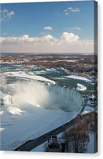 Horseshoe Falls Canvas Print - Niagara Falls In Winter by Jim West