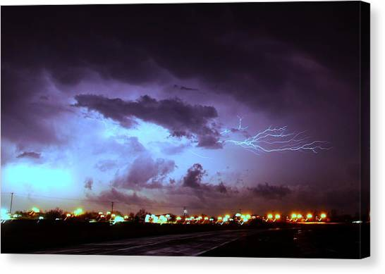 Canvas Print featuring the photograph Our 1st Severe Thunderstorms In South Central Nebraska by NebraskaSC