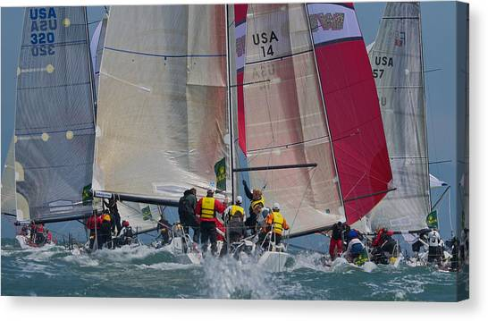 San Francisco Bay Sailboat Racing Canvas Print