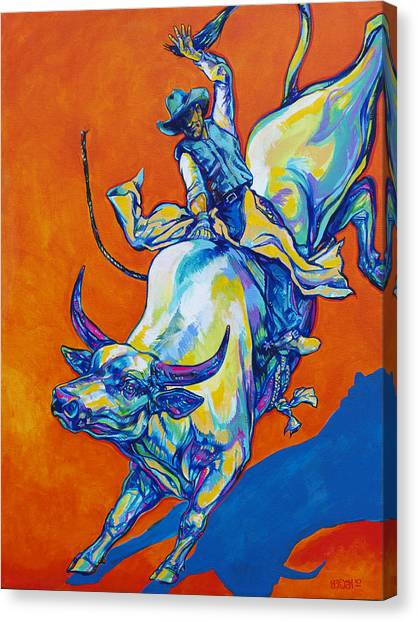 Bull Riding Canvas Print - 8 Second Insanity by Derrick Higgins