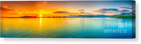 Tropical Sunset Canvas Print - Sunset Panorama by MotHaiBaPhoto Prints