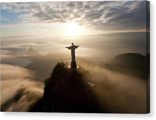 Mountain Sunrises Canvas Print - The Art Deco Statue Of Jesus, Known by Peter Adams