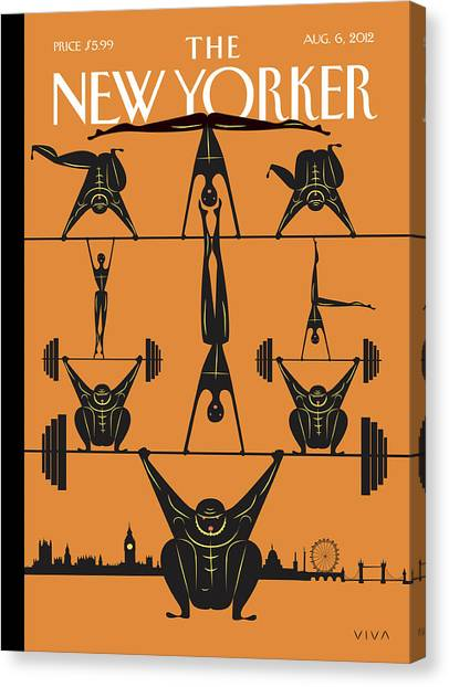 Weights Canvas Print - New Yorker August 6th, 2012 by Frank Viva