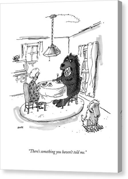 Dinner Table Canvas Print - New Yorker September 21st, 2009 by George Booth