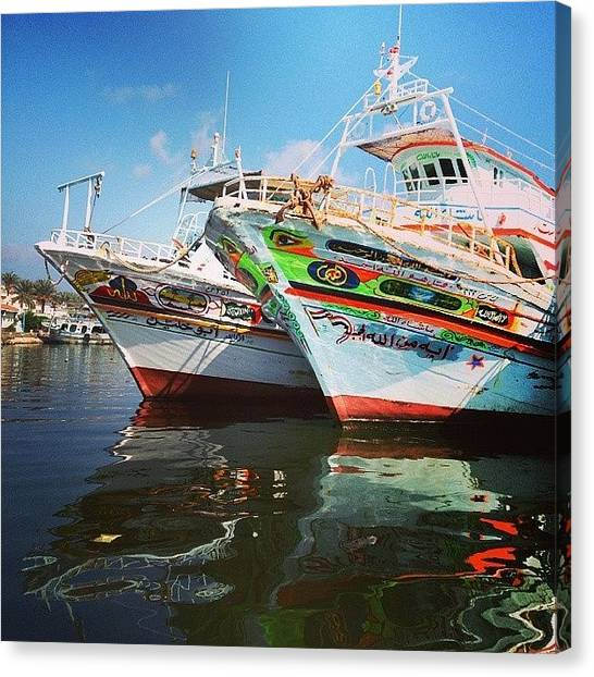 Fishing Boats Canvas Print - Instagram Photo by Mohamed Elkhamisy