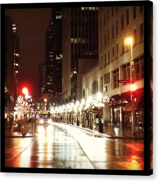 Holidays Canvas Print - Nicollet Mall In Winter by Heidi Hermes