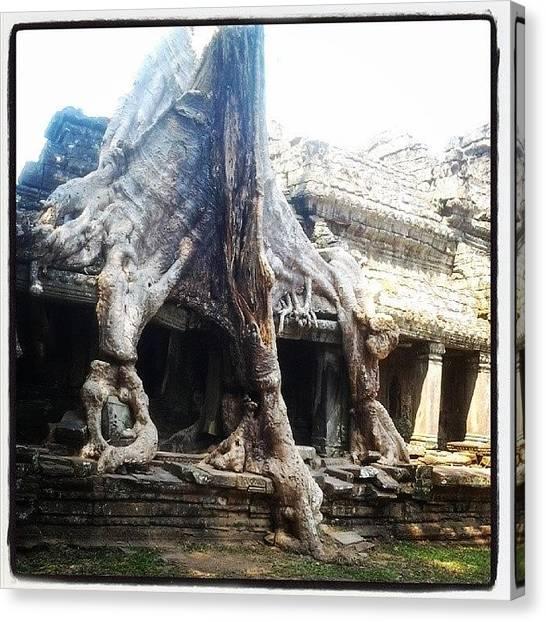 Hinduism Canvas Print - Temple In Angkor by Tamara Kos