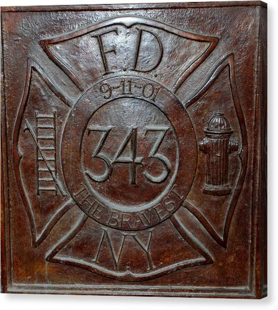 Firefighters Canvas Print - 9 11 01 F D N Y 343 by Rob Hans