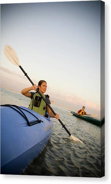 Real Salt Lake Canvas Print - A Couple Paddles Kayaks Together by David Nevala